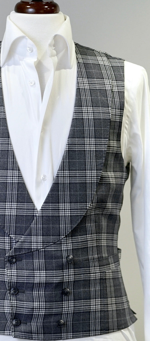 Charcoal & Light Grey Plaid Waistcoat