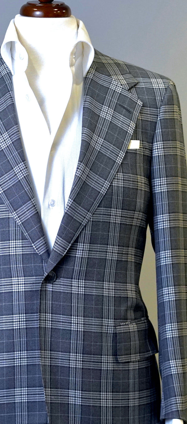 Charcoal & Light Grey Plaid Jacket