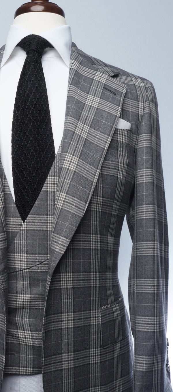 Charcoal & Light Grey Plaid Suit
