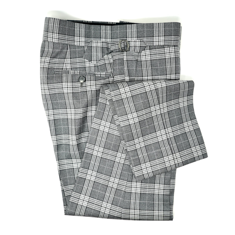 Charcoal & Light Grey Plaid Trousers