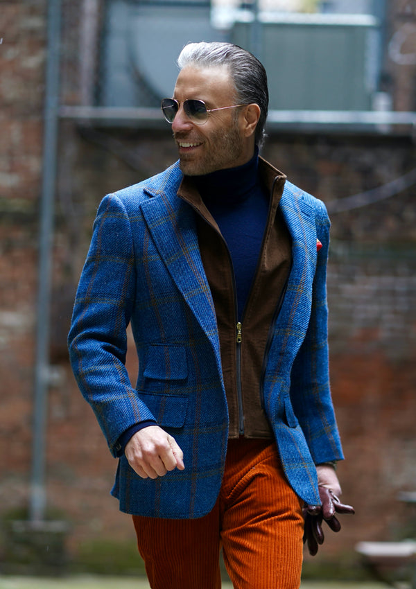Cornflower Blue & Rust Overplaid Jacket