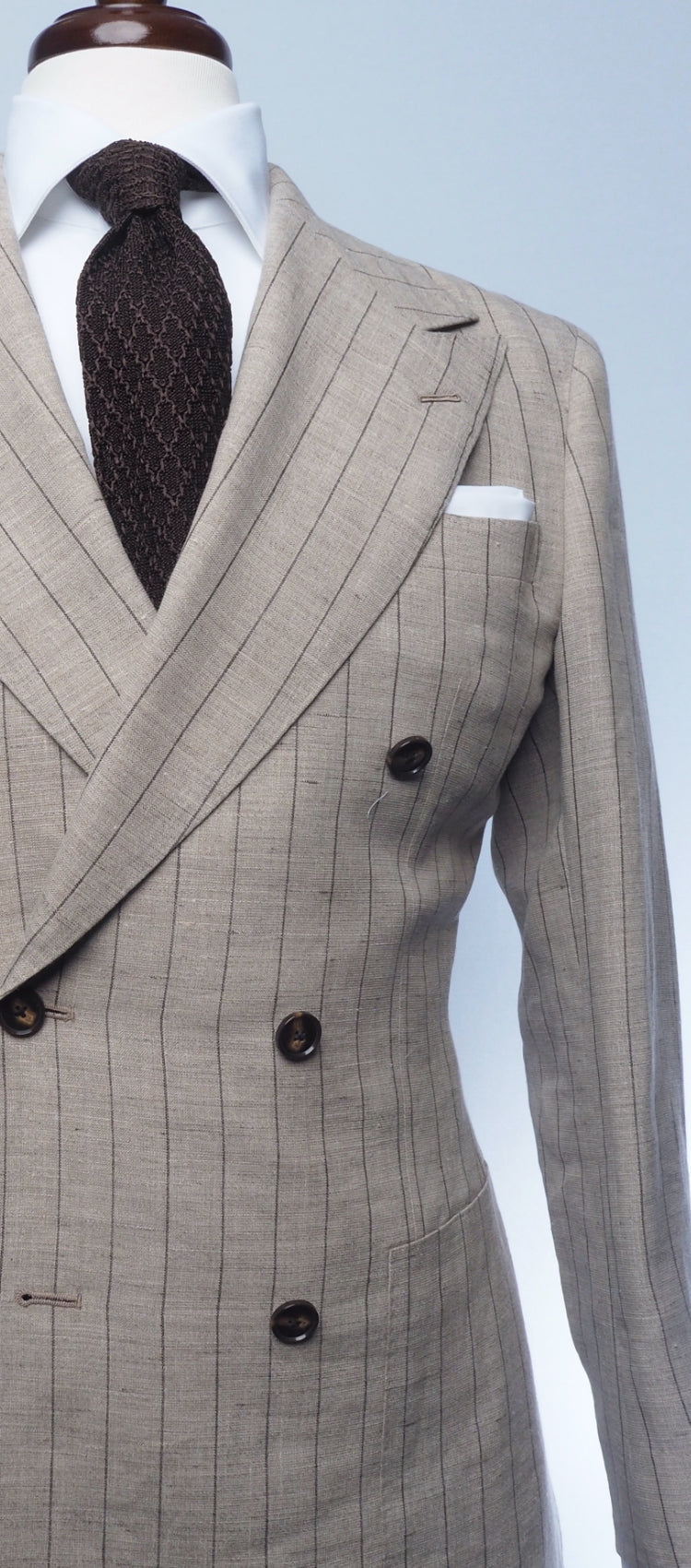 Cream Linen & Caramel Stripe Suit