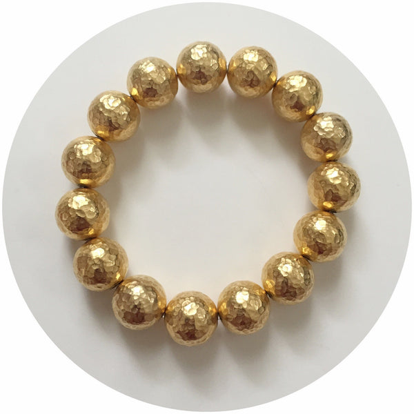 Hammered 22k Gold Plated Brass Bracelet - Oriana Lamarca LLC
