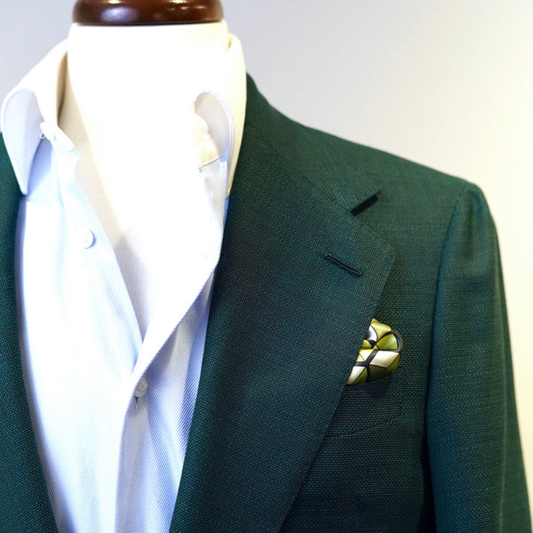 Green Geometry Pocket Square