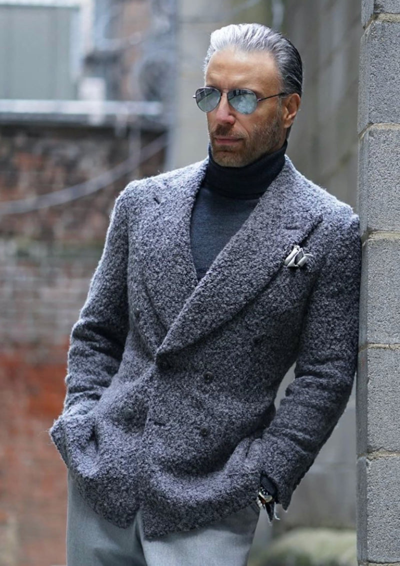 Grey Boucle Sweater Jacket