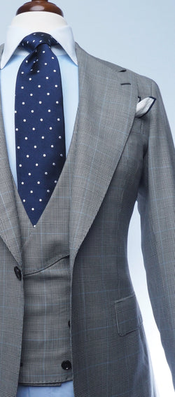 Grey Glenplaid Pale Blue Suit