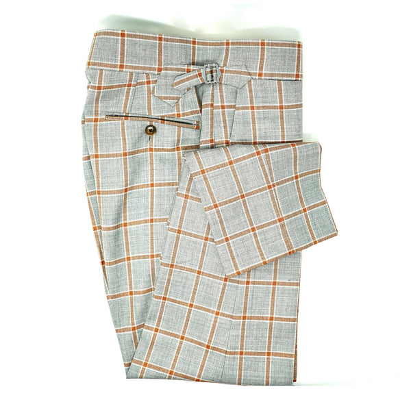 Grey Rust Windowpane Trousers
