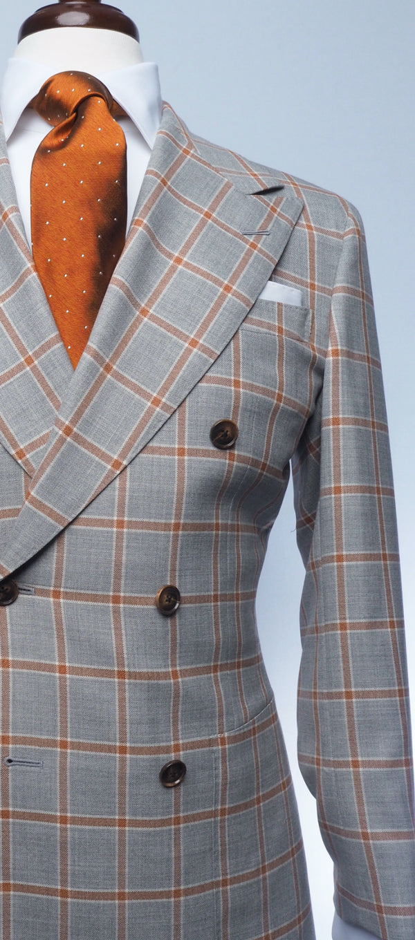 Grey Rust Windowpane Suit