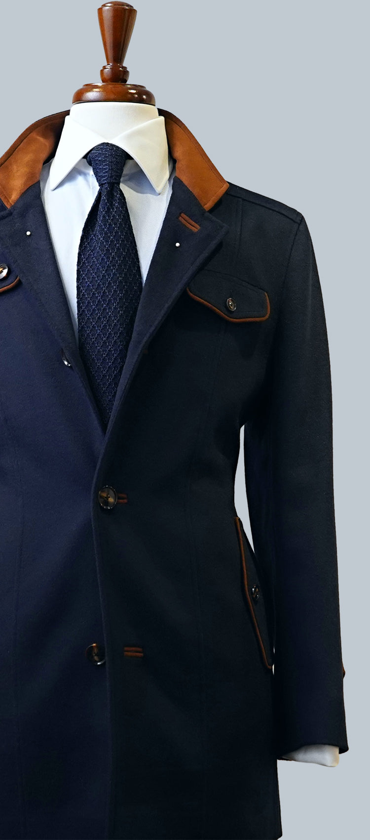 Blue Wool Cashmere Overcoat