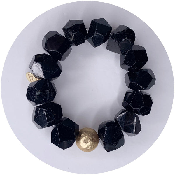 Black Onyx Nugget with Hammered Gold Accent