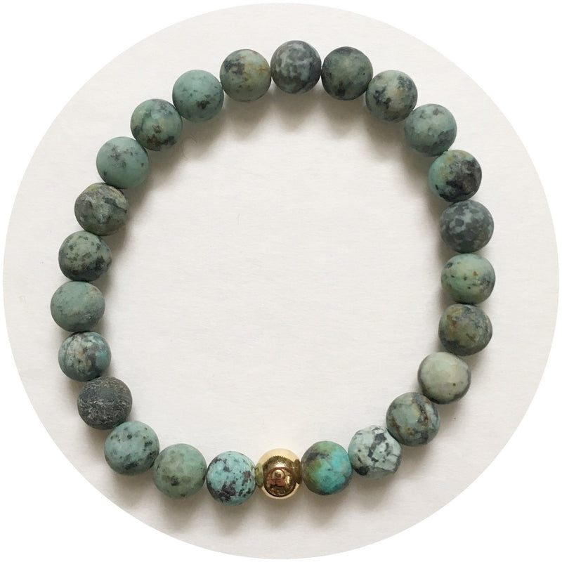 Mens Matte African Turquoise with Gold Accent - Oriana Lamarca LLC