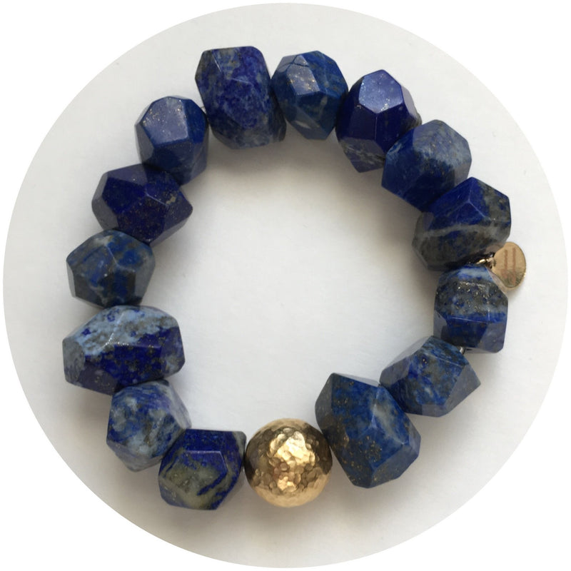 Lapis Nugget with Hammered Gold Accent - Oriana Lamarca LLC