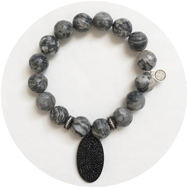 Fifty Shades of Darker Grey Gemstones Arm Party - Oriana Lamarca LLC
