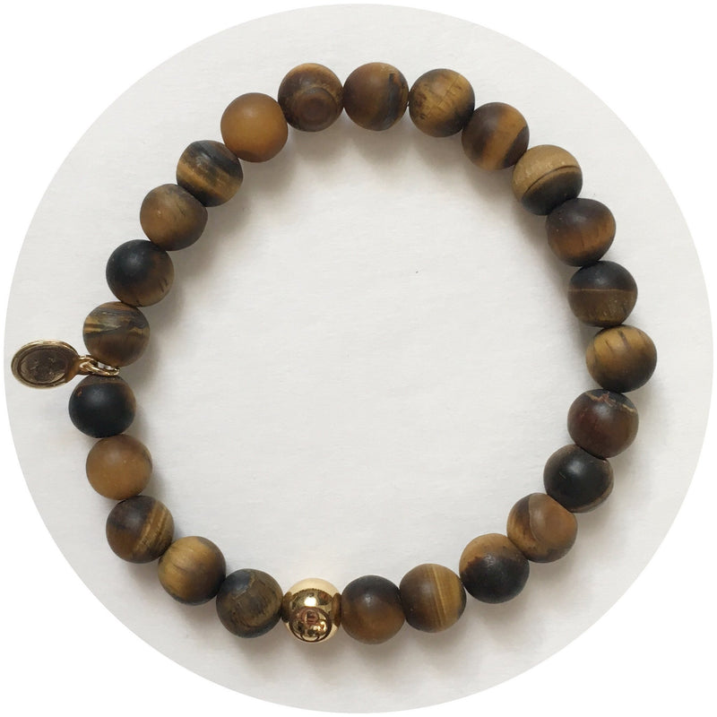 Mens Matte Tiger Eye with Gold Accent - Oriana Lamarca LLC