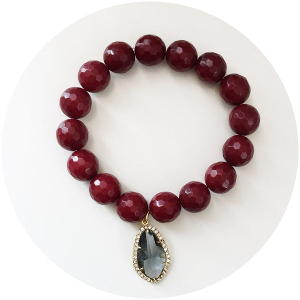 Marsala Jade with Pavé Grey Gold Crystal Point Pendant - Oriana Lamarca LLC
