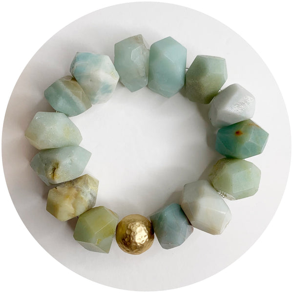 Amazonite Nugget with Hammered Gold Accent