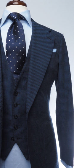 Midnight Navy Searsucker Suit