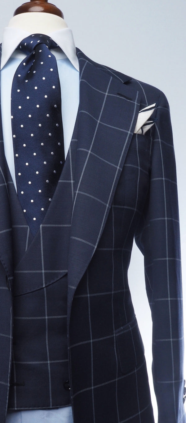 Navy Blue & Light Grey Windowpane Suit
