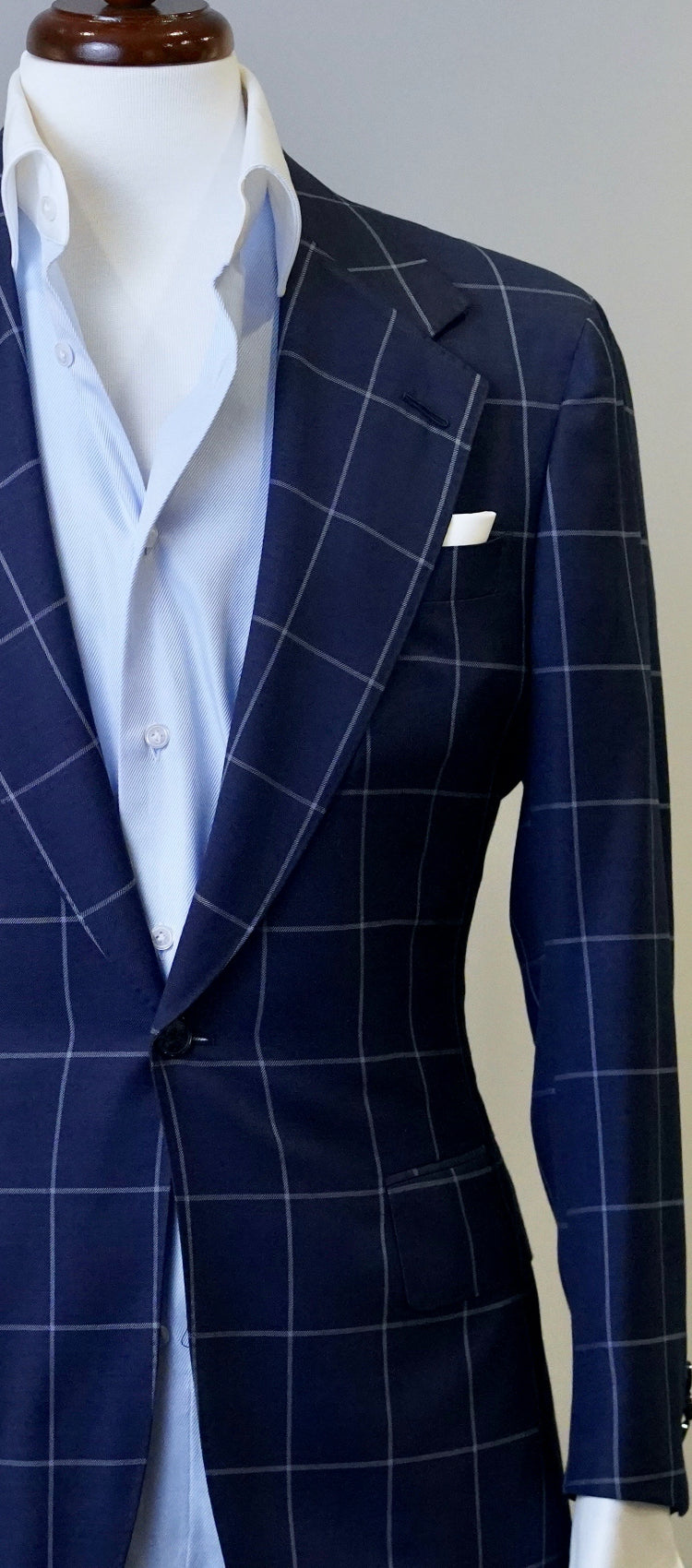 Navy Blue & Light Grey Windowpane Jacket