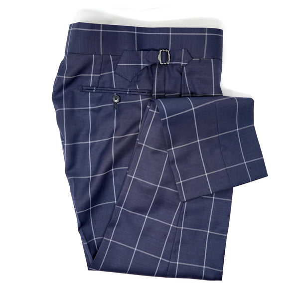Navy Blue & Light Grey Windowpane Trousers
