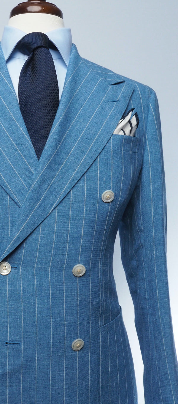 Sky Blue Linen & Pale Stripe Suit
