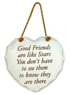 Good Friends are like stars' Shabby Chic White & Gold Wooden Heart Plaque