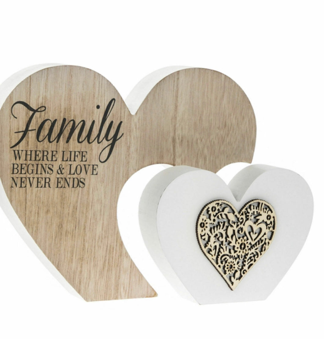 Leonardo Collection Laser Cut Wooden Plaque Double Heart Family where life ends