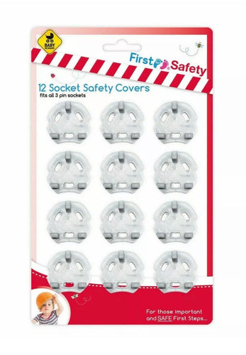 Baby Protection 12 Piece Safety Plug Socket Covers Set - 3 Pin Sockets Cover