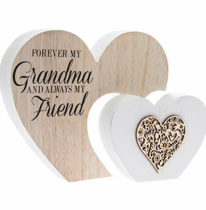 The Leonardo Collection Laser Cut Woodcraft Heart Plaque - Forever my GRANDMA