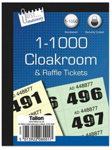 1000 Security Coded Numbered Cloakroom Raffle Tickets Tombola Draw Tickets