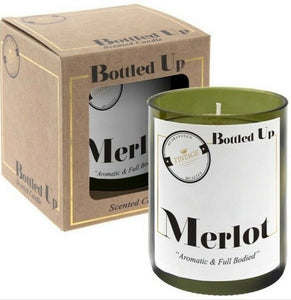 "Bottled up Merlot Wine Glass Candle ""Aromatic & Full Bodied"""