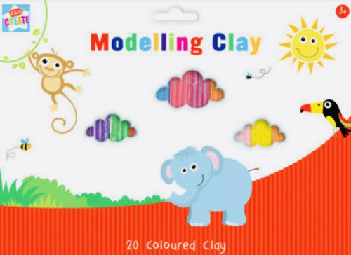 Kids Modelling Clay Set Plasticine 20pcs Non Toxic Craft & Create 3yrs Plus