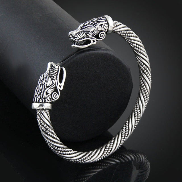 Viking Twin Wolf Bracelet