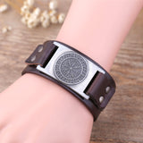 Viking Compass Leather Bracelet  [Odin Symbol]