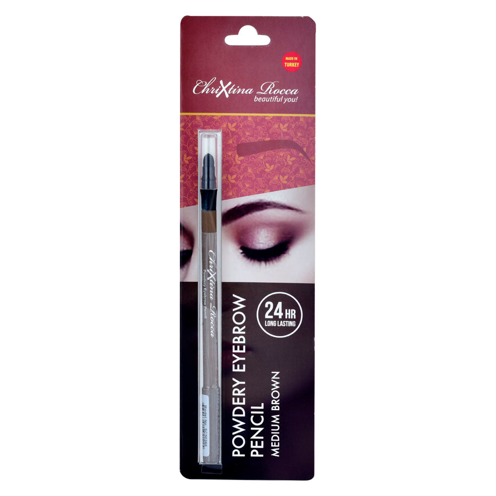 Chrixtina Rocca 24 HR Long Lasting Powdery Eyebrow Pencil Medium Brown