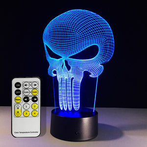 Punisher Multi-Colored 3D Hologram Illusion Desk Lamp