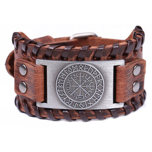 Vikings Nordic Odin Symbol Genuine Leather Men's Bracelet