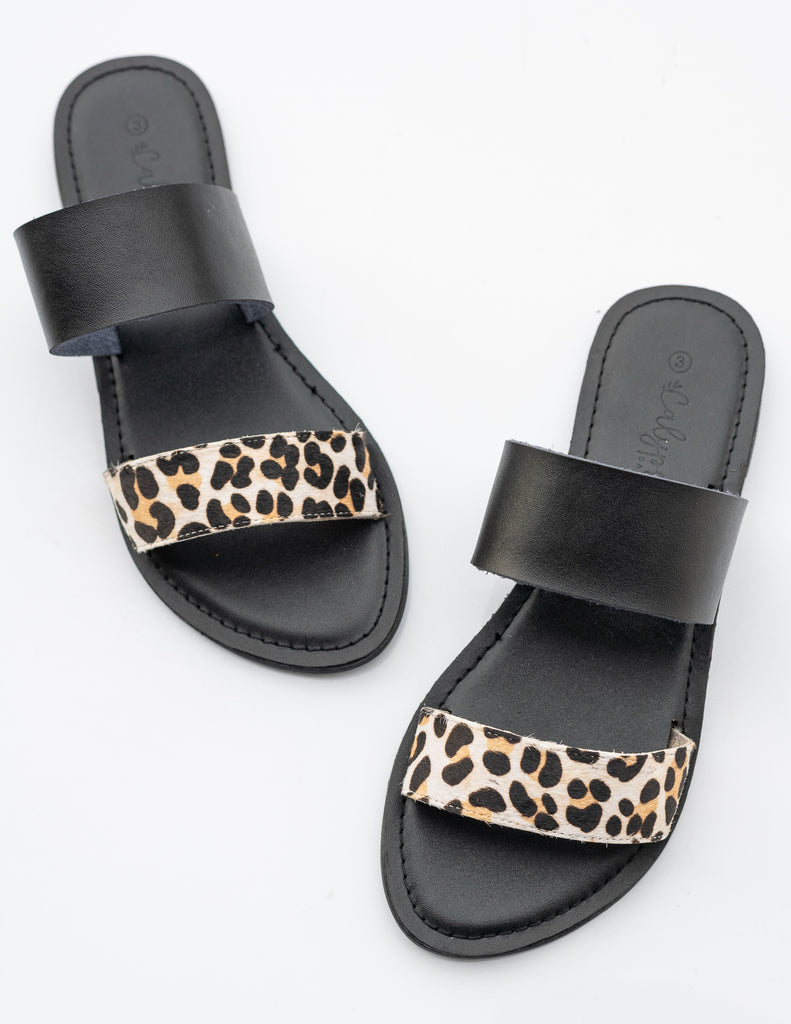 Black/snow leopard 'Ella' slide