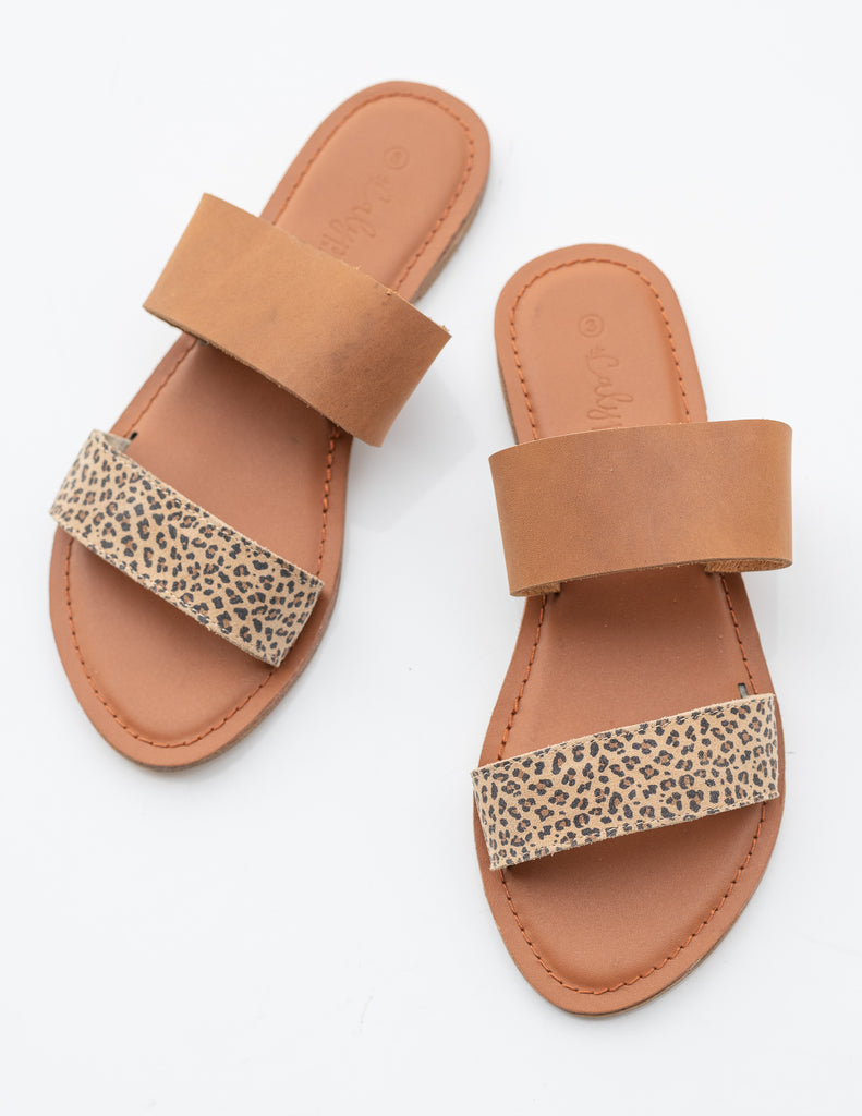 Tan/wild 'Ella' slide