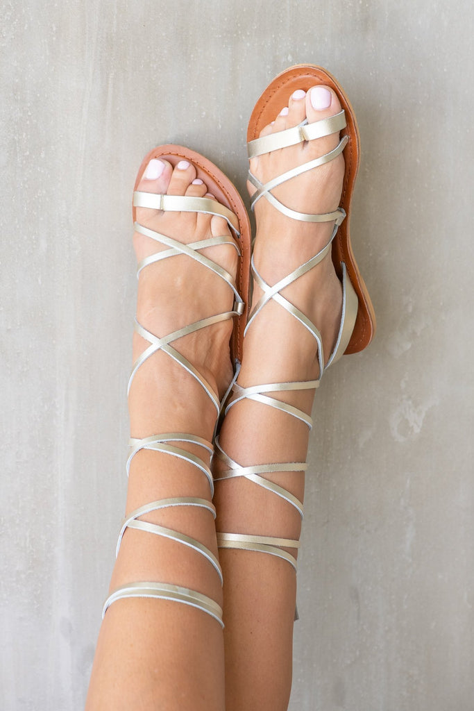 Gold Savannah Lace-up Sandal - Calypso Sandals
