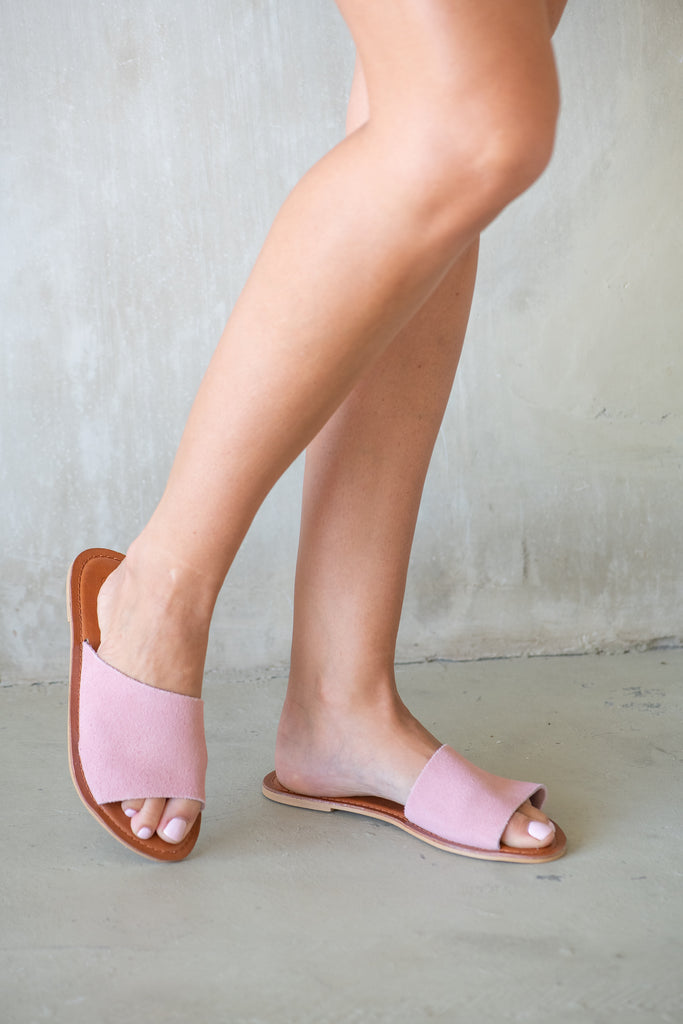 Blush Dahlia Suede Slide - Calypso Sandals