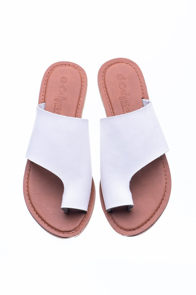 White Myra Slide - Calypso Sandals