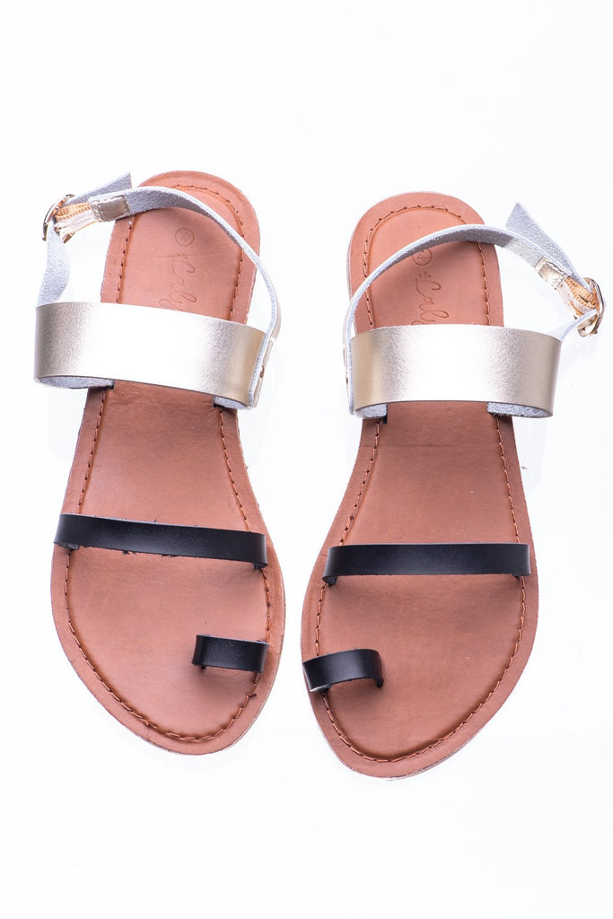 Black & Gold Athens Sandal - Calypso Sandals