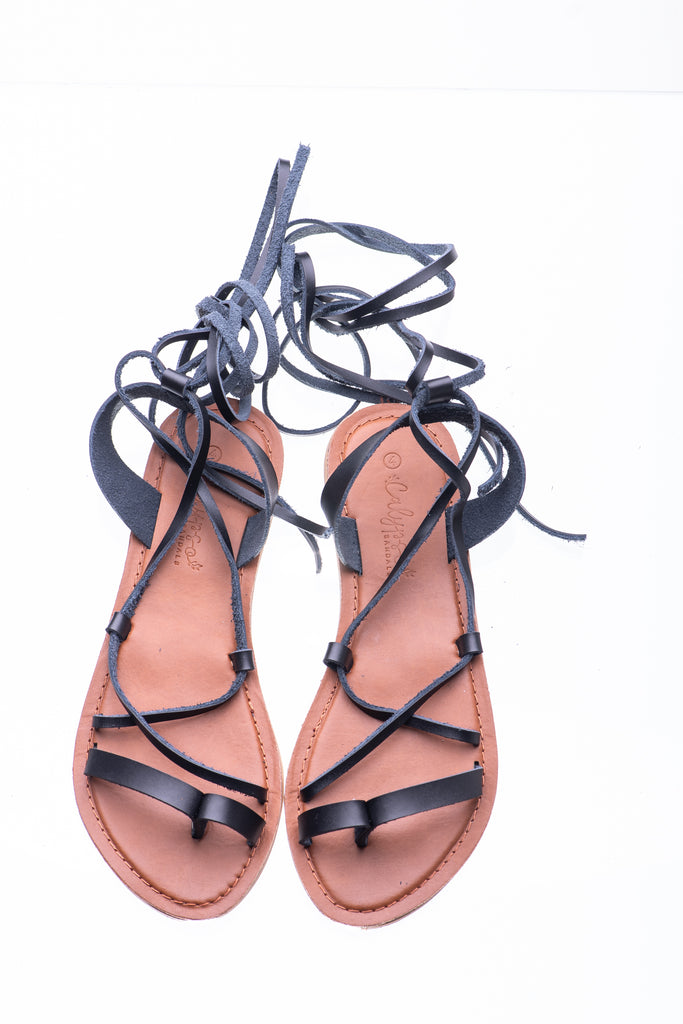 Black Savannah Lace-up Sandal - Calypso Sandals