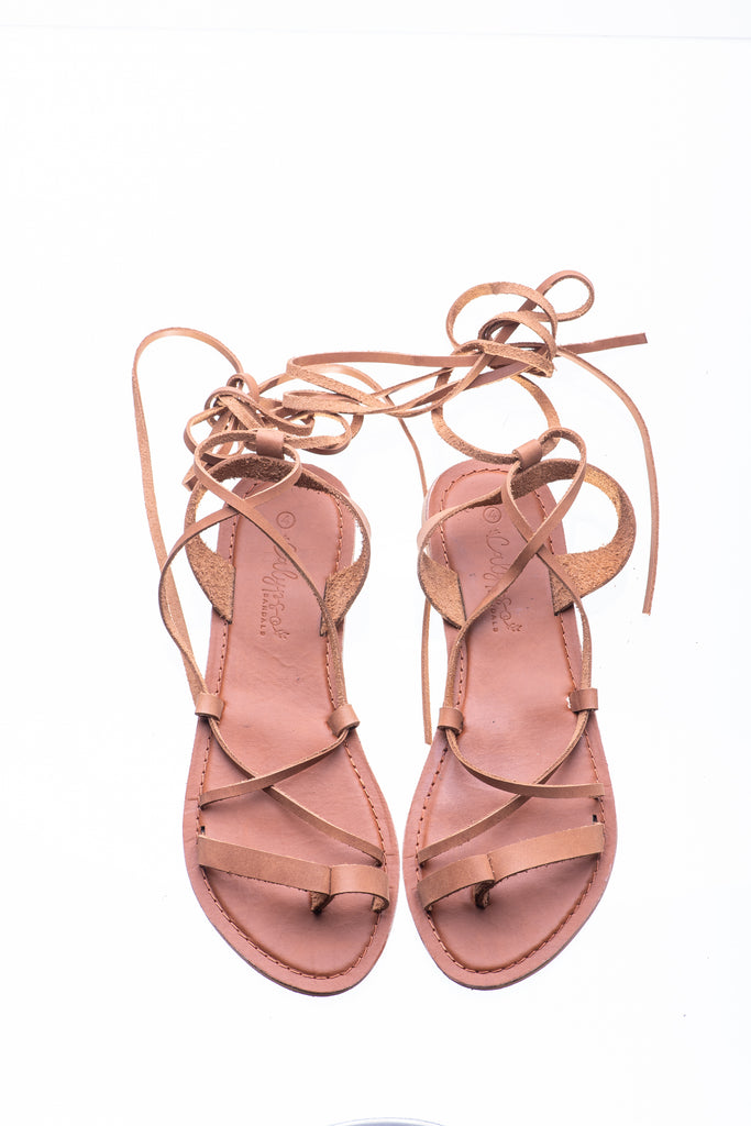 Tan Savannah Lace-up sandal - Calypso Sandals