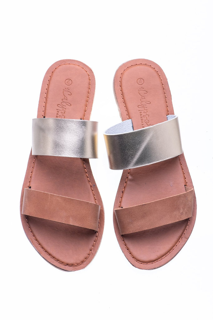 Tan & Gold Ella Flats - Calypso Sandals