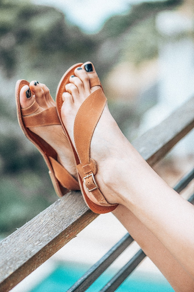 Tan 'Naomi' toe post sandal