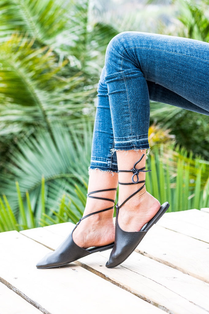 Black 'Antigua' lace up mule