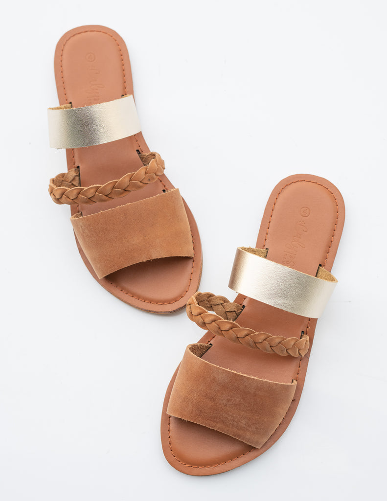 Tan/gold 'Salena' weave slide