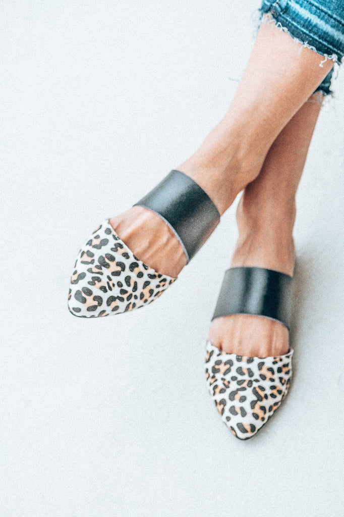 Black/snow leopard 'Osana' slip on mule